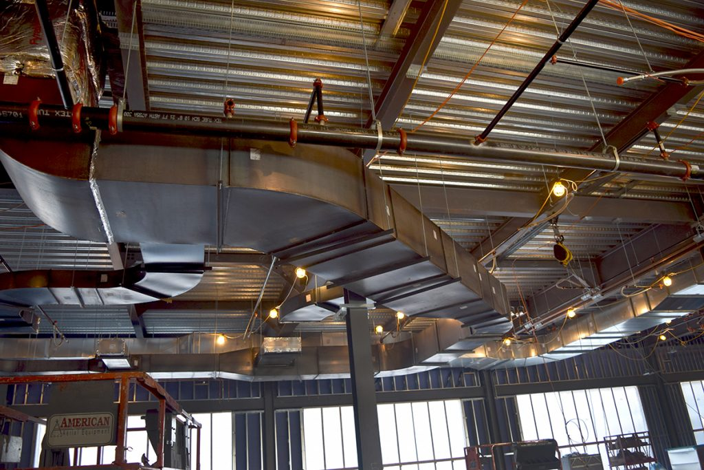 Black iron exhaust duct for 1st floor culinary kitchen.