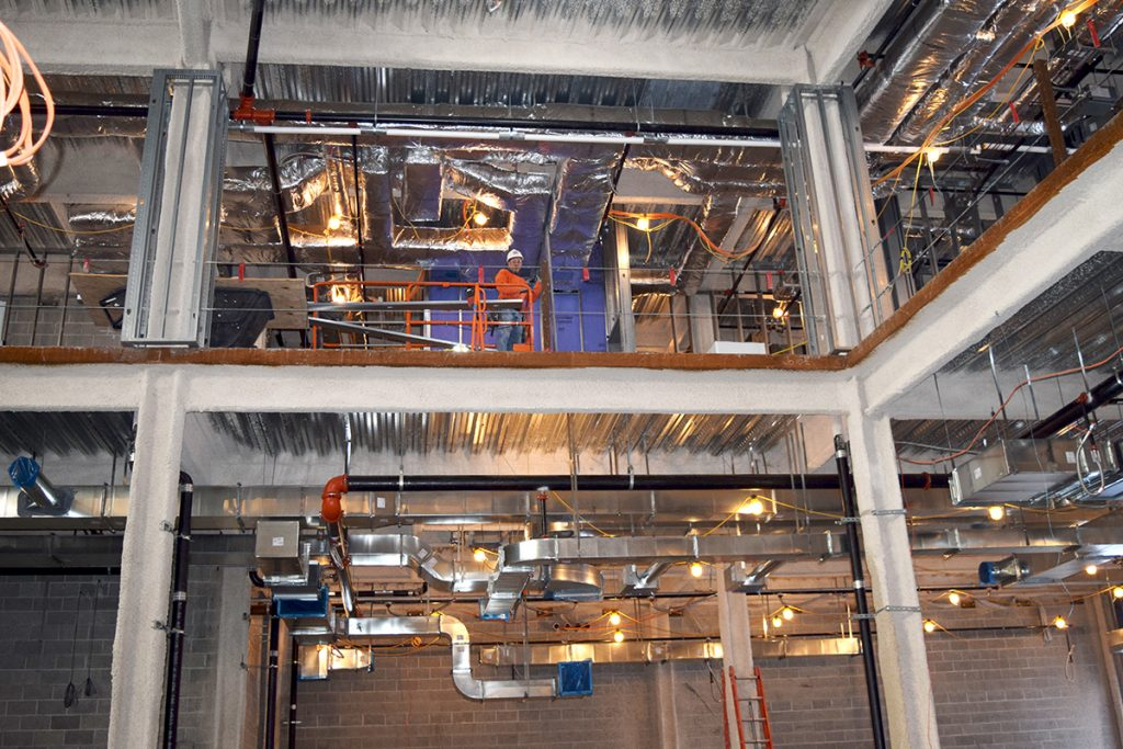 View of 1st and 2nd floors show insulated and non-insulated ductwork.