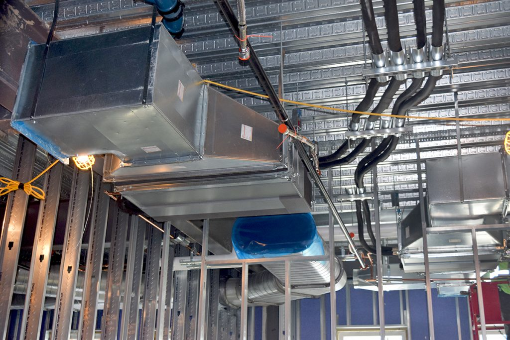 VRF ductwork and piping for classrooms.